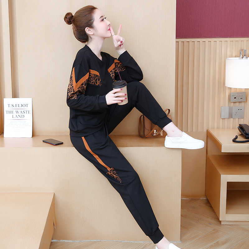 Black Leopard Print Two Piece Sport Tracksuits Sets Women Plus Size Korean Sweatshirt And Pants Suits Casual Fashion Outfits 33