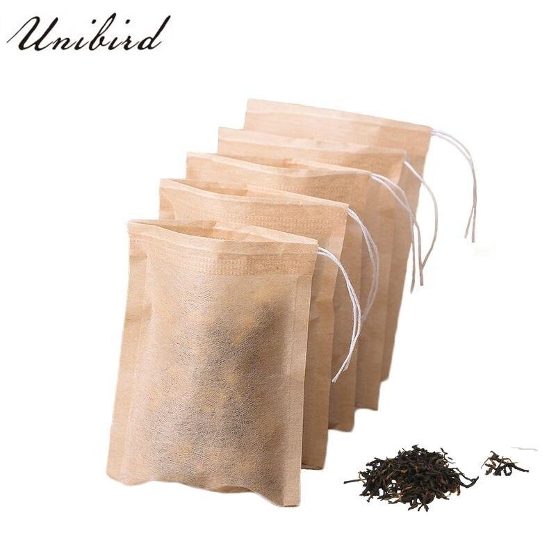 Unibird 100Pcs/Set Tea Bag Wood Pulp Paper Tea Infuser Strainer Drawstring Bags For Help Loose Leaf