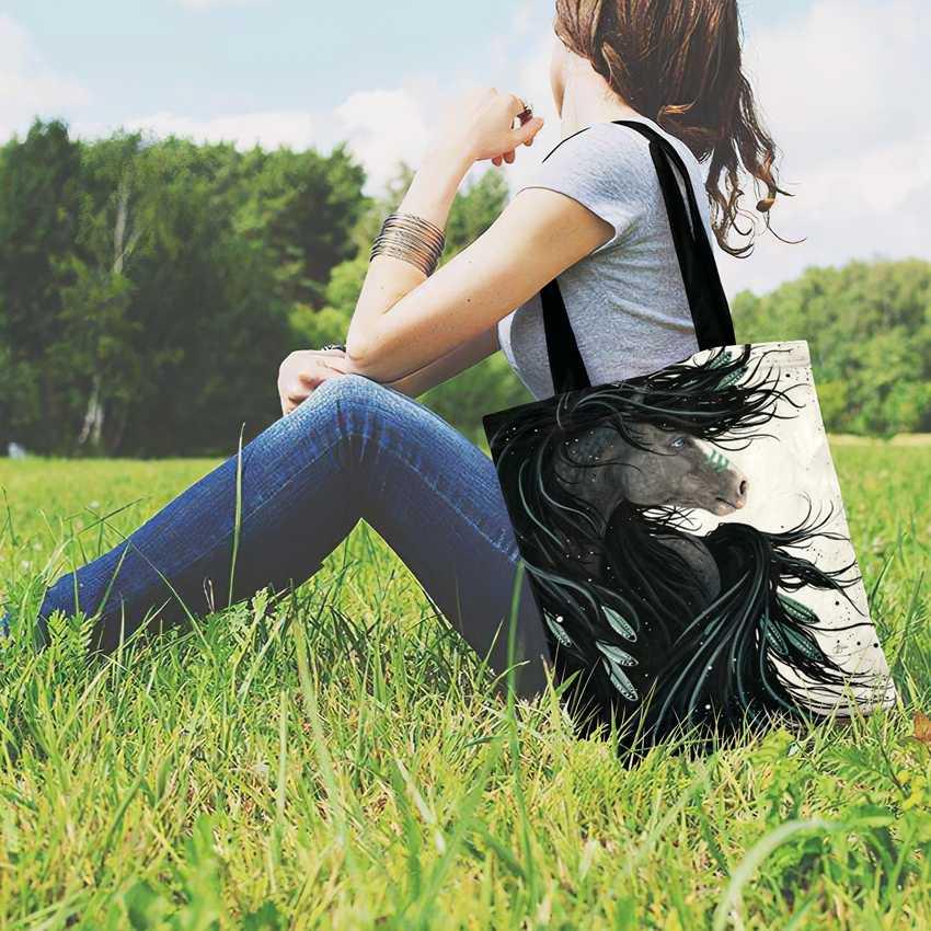Pferd Tier Gedruckt Casual Tote Leinen Trage Tasche Für Frauen Faltbare Einkaufstasche Damen Schulter Tasche Im Freien Strand Tasche