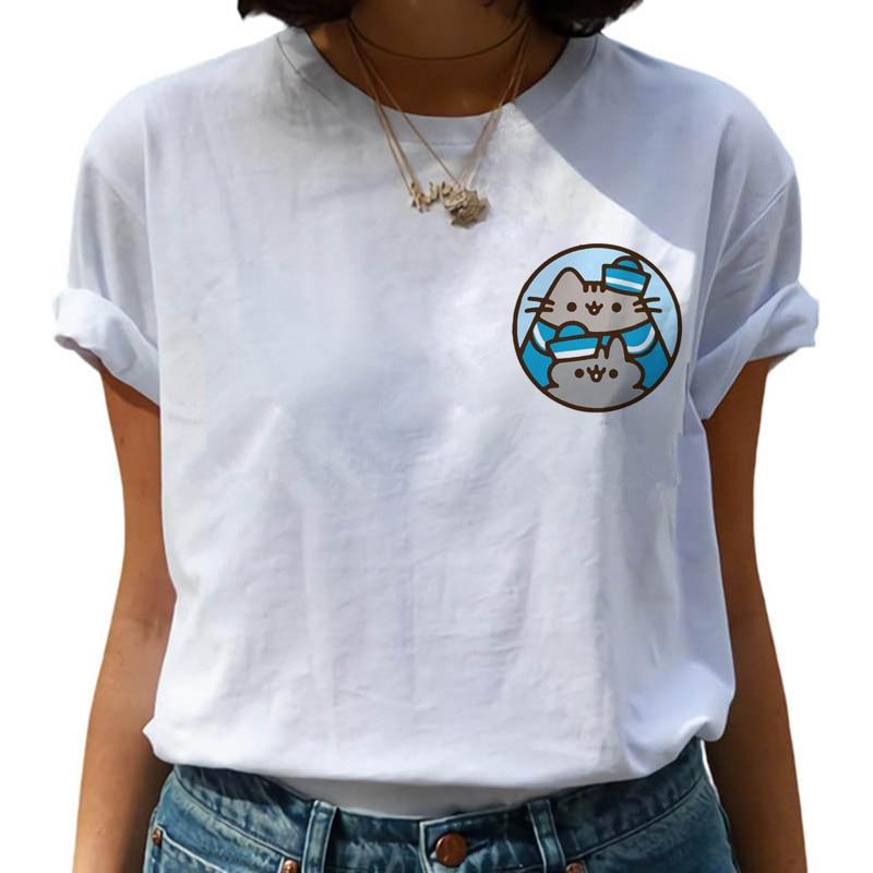 Kawaii Pusheen Harajuku   T     Shirt   Women Cute Cat Funny Cartoon   T  -  shirt   Ullzang 90s Anime Tshirt Fashion Korea Style Top Tee Female