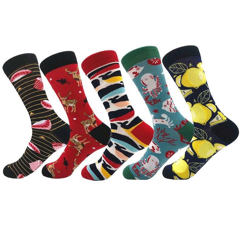 Colorful Men's Socks Cotton Cartoon Pattern Fashion Happy Socks Streetwear Novelty Deer Tiger Avocado Stripes Sokken