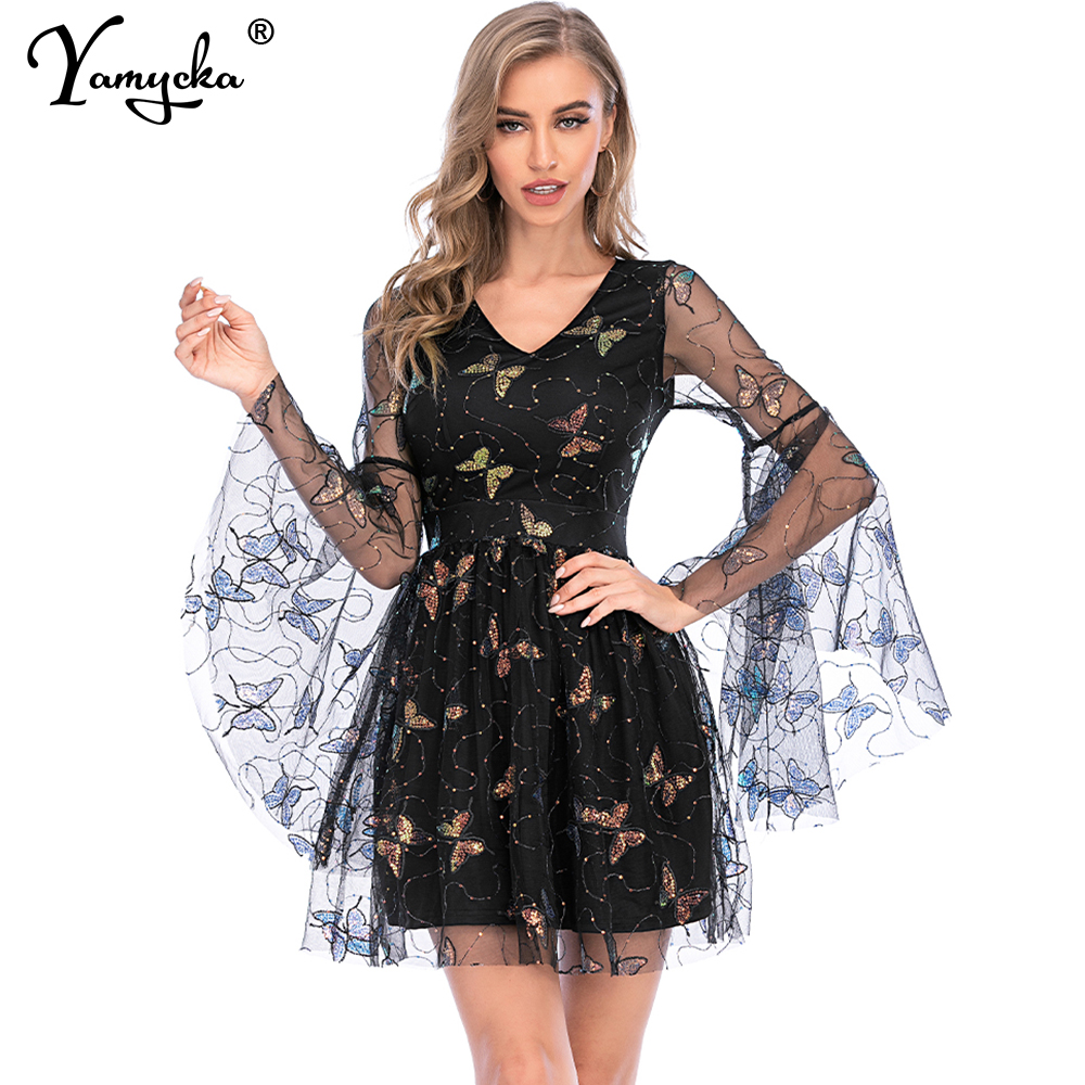 <font><b>Sexy</b></font> Long Sleeve woman Sequins butterfly <font><b>dress</b></font> <font><b>women</b></font> summer vintage <font><b>bodycon</b></font> black club party <font><b>dress</b></font> celebrity <font><b>dresses</b></font> vestidos HL image