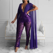Sequins Sexy Jumpsuit Clubwear Women Long Sleeve V Neck Mesh Patchwork Transparent Ladies Party Rompers Long Jumpsuits Plus Size(China)