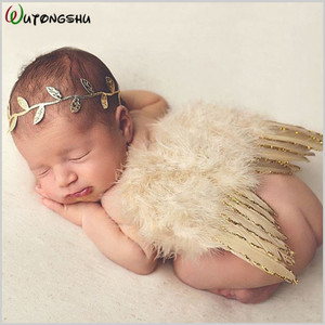 Newborn Photography Props Angel Feathers Wings Baby Costume Clothes With the Leaves Hair Band Photography Accessories For Infant