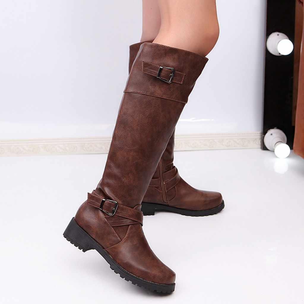 Długa rurka skórzane buty damskie zimowe styl rzymski buty jeździeckie 2019 Lady moda Retro buty na niskim obcasie styl rzymski rycerz buty nowe
