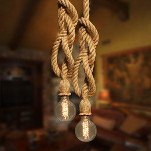 4m cabeças duplas corda de cânhamo pingente base da lâmpada iluminação noturna campo edison suporte para sala estar cafe shop decoração casa