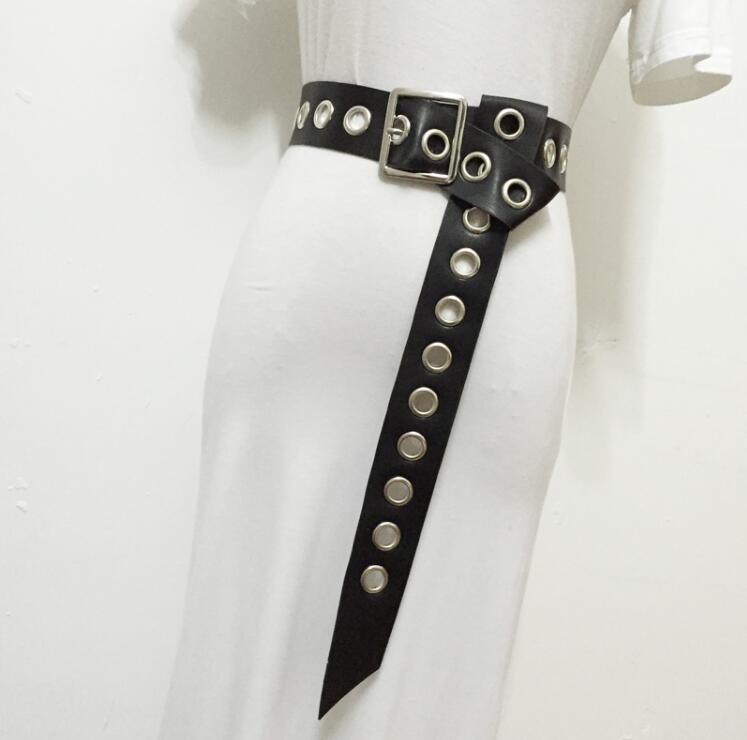 Women's Runway Fashion Metal Eyelet Pu Leather Cummerbunds Female Dress Coat Corsets Waistband Belts Decoration Wide Belt R1803
