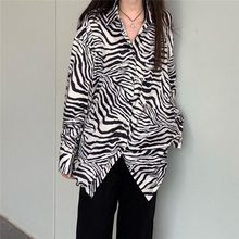 Qweek harajuku zebra impressão camisa feminina gothic 2021 streetwear oversized japonês preto manga longa verão topos do punk menina