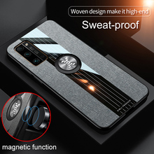 Luxury Cloth Phone Case For Huawei Honor 30 Pro Case  Magnetic Car Holder Cover for Honor 30 Pro Ring Holder Fabric Case Honor30