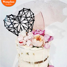 Multi-line Geometry Heart Shape Happy Birthday Cake Topper Gold Acrylic Cupcake Toppers Wedding & Engagement Decoration