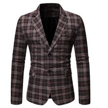 PUIMENTIUA 2019 Fashion Mens Autumn Casual Blazers Plaid Business England Style Wedding Party Outwear Men Blazer Slim Fit Suit