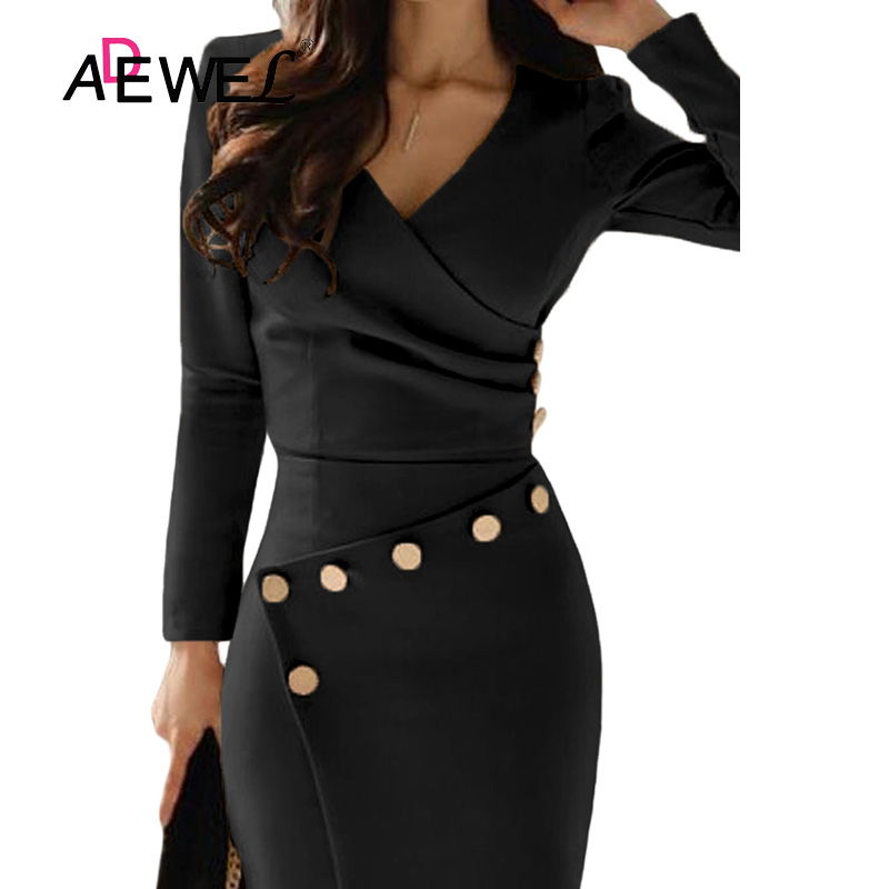 ADEWEL Button Detail White Ruched Bodycon Office Work Dress Women Long Sleeve V-Neck Party Midi Gown Dress 10