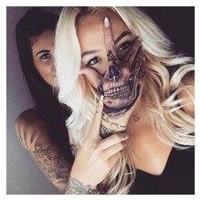 Waterproof Temporary Tattoo Sticker Hand Painted Cool Dark Skull Face Art Water Transfer Fake Tatoo Flash Tatto for Men Women