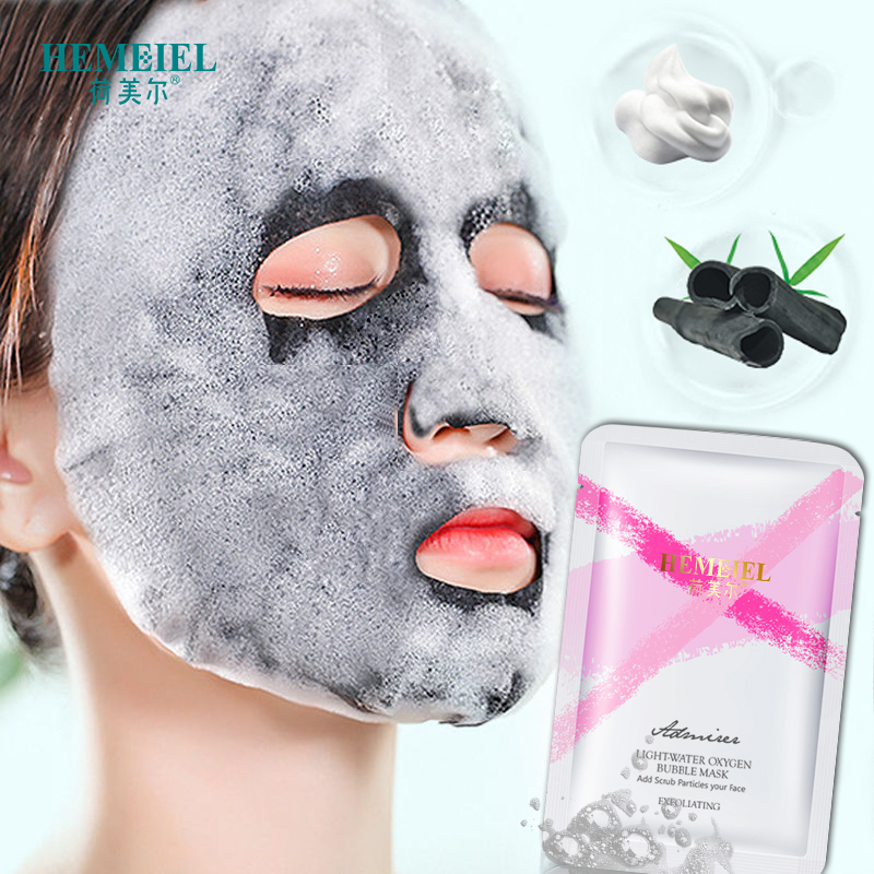 HEMEIEL Hot Detox Oxygen Bubble Mask Deep Clean Bamboo Charcoal Whitening Face Mask Acne Treatment Korean Sheet Mask Skin Care