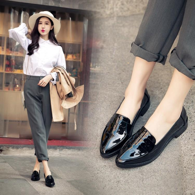 2019 autumn low shoes set foot Europe and America pu leather comfortable pointed flat 3cm women's shoes single fashion popular thumbnail