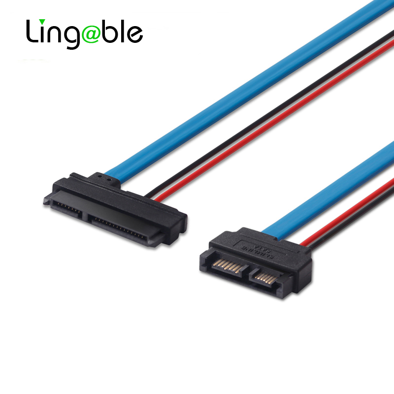 Lingable SATA Adapter Cable Serial ATA 22Pin 7+15 Female to Slimline SATA 13Pin 7+6 Male Connector Conterver Cables 30CM image