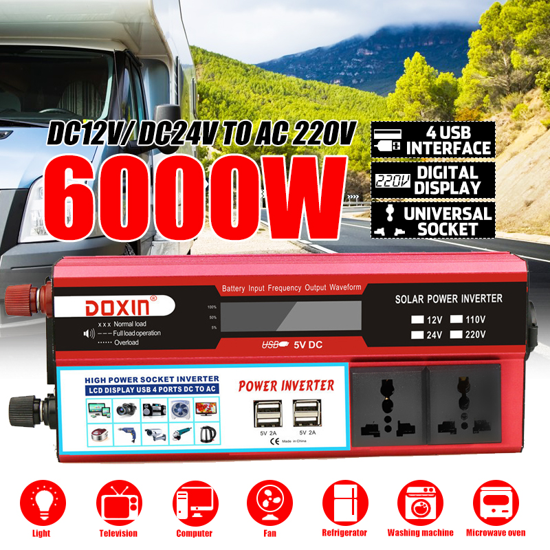 Efficient 4 USB 6000W DC12/24V To AC220V LCD Display Car Power Inverter Charger Converter Adapter Modified Sine Wave Transformer