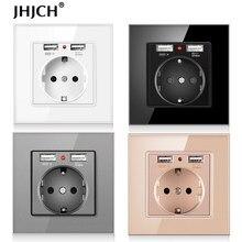 JHJCH-toma de corriente de la UE, enchufe con puerto de carga USB 2.1a 16A, panel de cristal, toma de corriente ruso y español