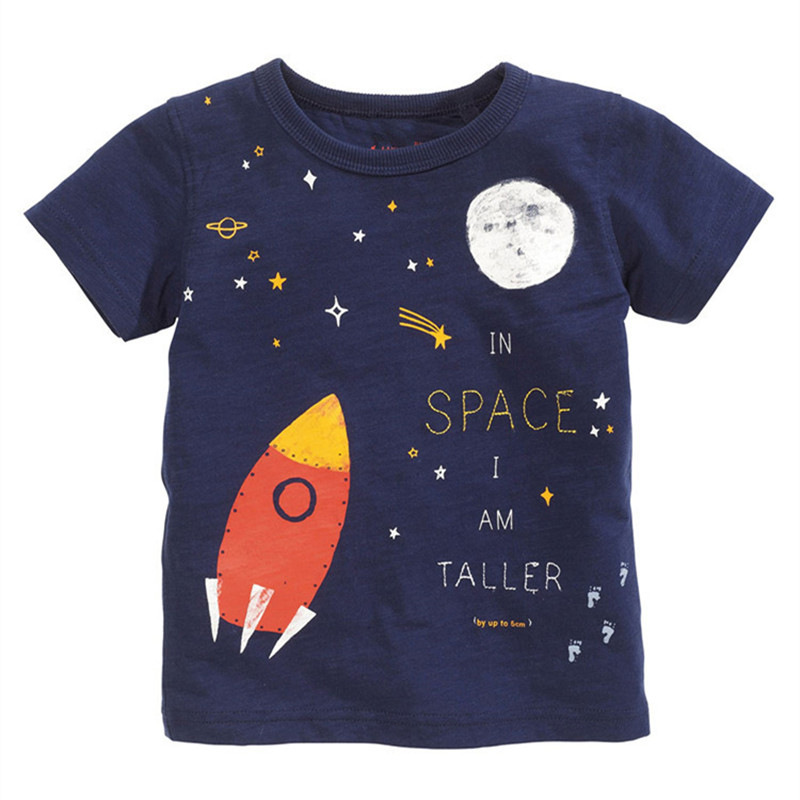 T-Shirts Space-Tee Universe-Rocket Starry Boys Kids Short Cotton Fashion Age Out Sky