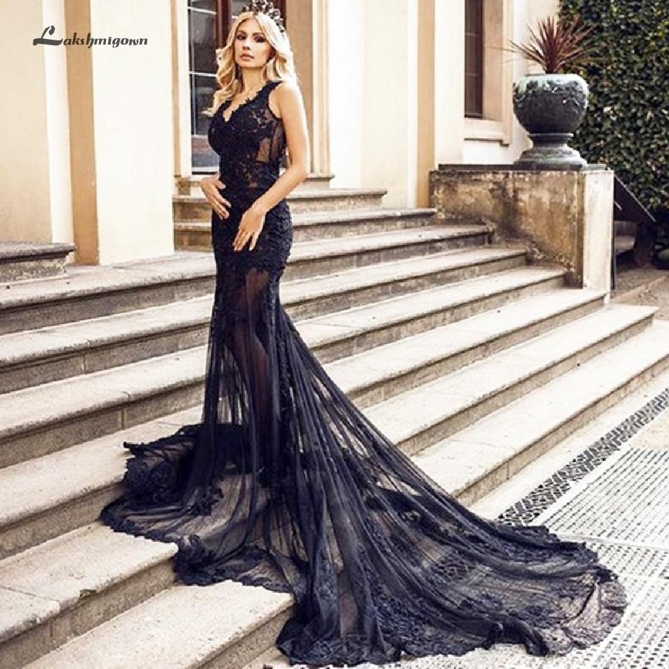 Lakshmigown Full Sexy Black Wedding Dress Lace Mermaid 2019 Hochzeit Sheer Illusion Bridal Gown Backless Tulle Long Wedding Gown Wedding Dresses Aliexpress