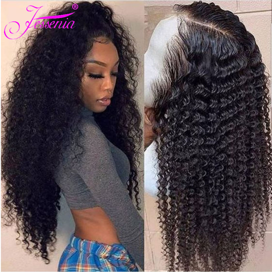 Jessenia13X4 Kinky Curly Lace Front Human Hair Wigs Malaysia Remy Hair DeepCurly 4x4 Wigs For Women Pre-Plucked Wig Density 150%