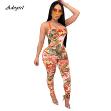 Backless Cross Lace-up Sexy Jumpsuit Women 2020 Summer Stretch Straps Sleeveless Slim Leaf Print Bod