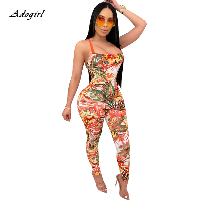 Backless Cross Lace-up Sexy Jumpsuit Women 2020 Summer Stretch Straps Sleeveless Slim Leaf Print Bodycon Bodysuit Rompers Women