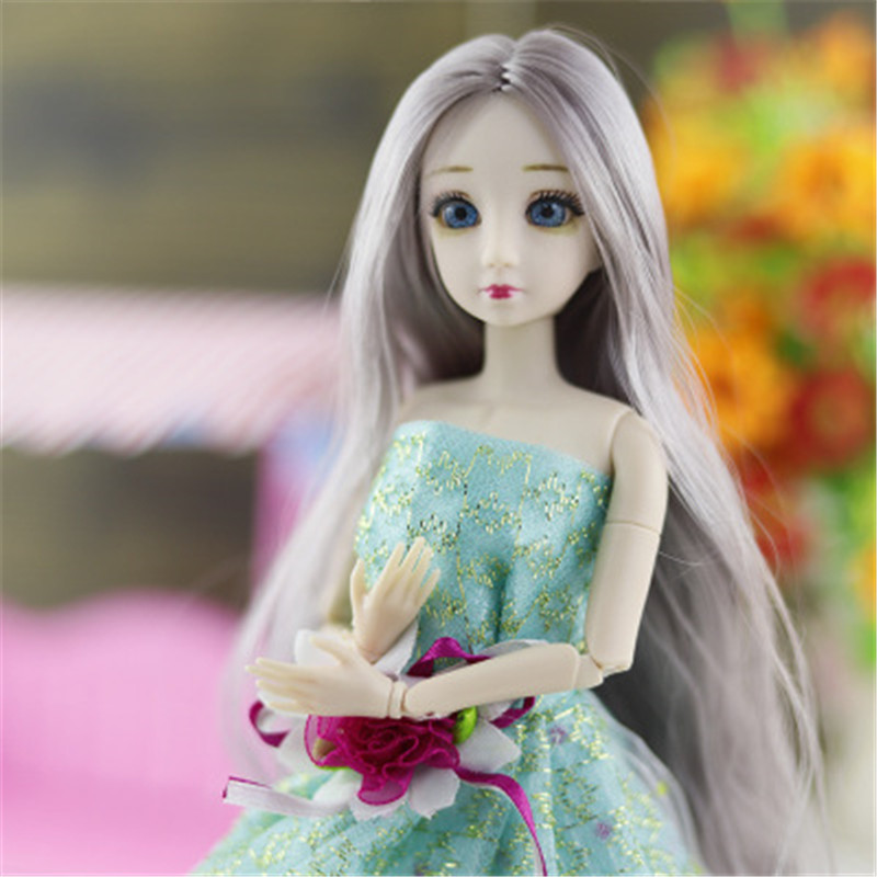 BJD Doll 30Cm 20 Joint Ball 3D Blue Eyes Doll Toys For Children Girls Gifts Long Wig Hair Female Nude Body Fashion Dolls Clothes
