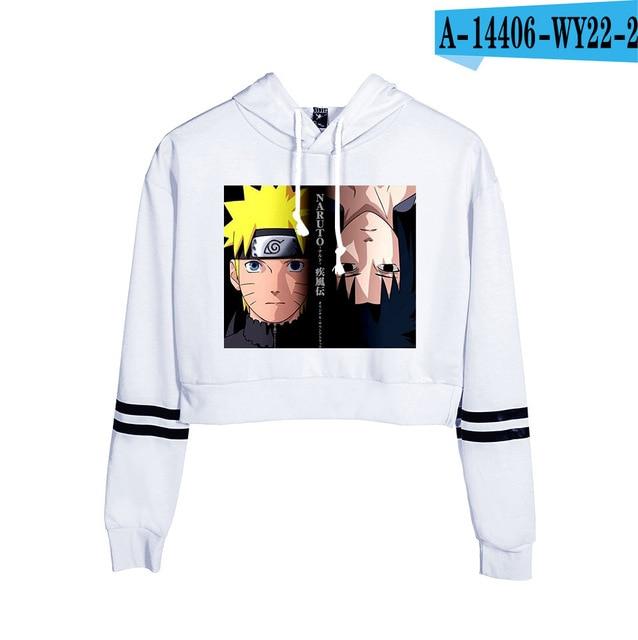 Now United Crop Top Hoodies Harajuku Japanese Anime Uzumaki Printed Hoodie Women Streetwear Fashion Cropped Sweatshirt Coat 21