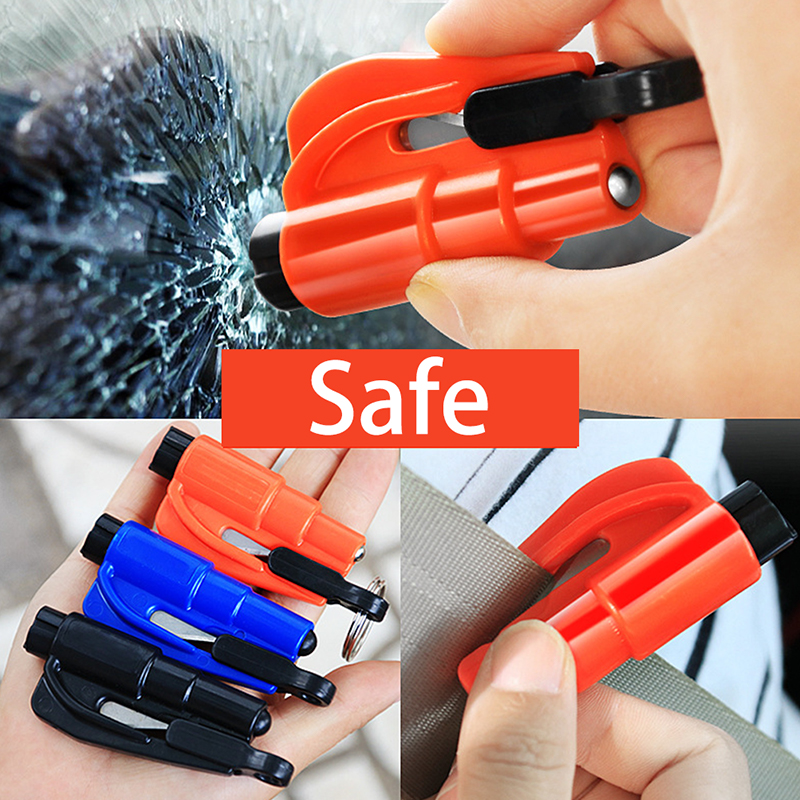Escape Hammer Window Breaker Punch Seat Belt Cutter Hammer Key Chain Portable Car Safety Hammer Spring Type