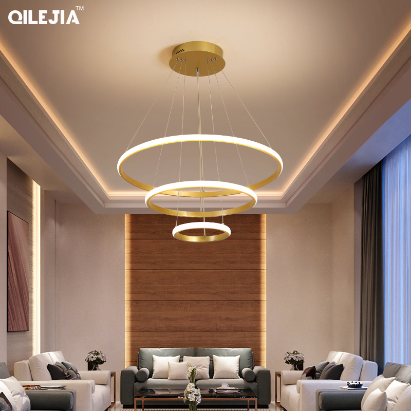 Chandelier Gold coffee White For Lliving room Dining Room Kitchen Room round Shape Chandelier Lighting Fixtures Indoor lighting