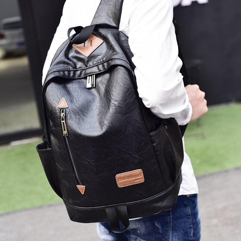 2018 nouvelle version coréenne de sac à dos en cuir PU pour hommes; sac à dos de loisirs; paquet d'ordinateur; sac à dos; croix-borde