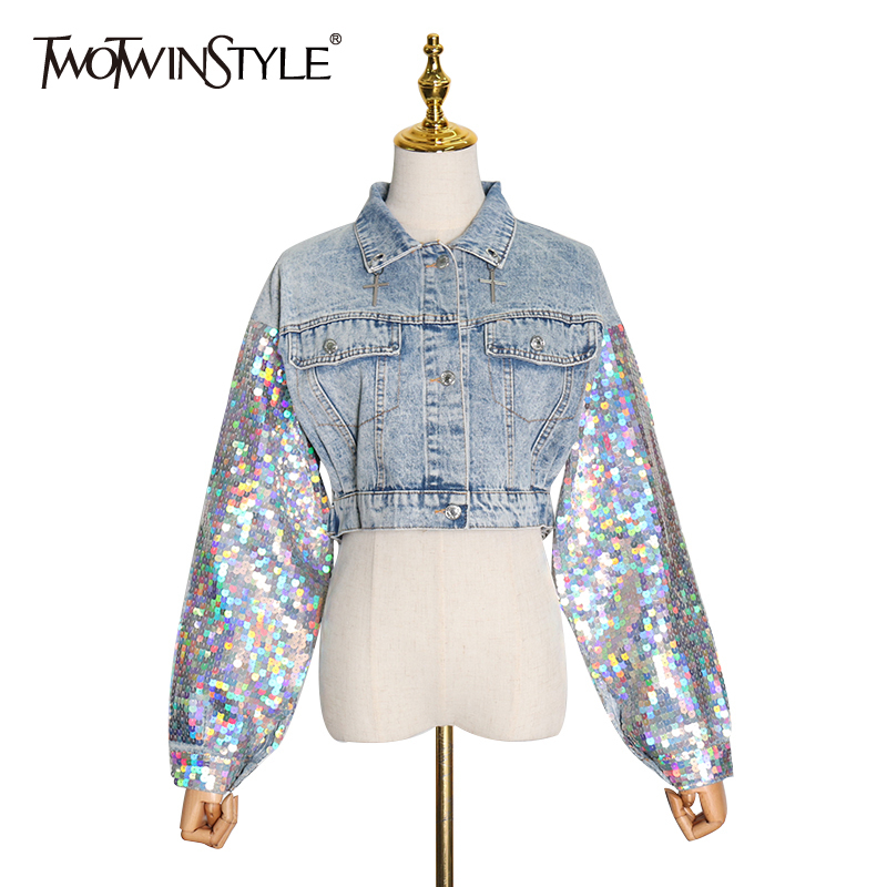 TWOTWINSTYLE Patchwork Sequin Denim Jacket For Women Lapel Collar Long Sleeve Streetwear Jackets Female 2020 Spring Fashion New