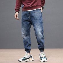Японский Стиль Мода Мужчин Джинсы Ретро Синий Свободный Покрой Джинсовые Брюки-Карго Отвисшей Нижней Сплайсированные Старинные Дизайнер Хип-Хоп