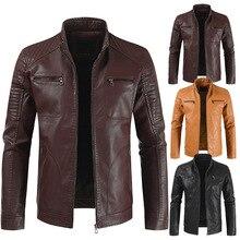Puimentiua 2019 New Europe America Vintage Harajuku Mens Leather Jacket Fashion Casual Slim Fleece Men Jackets Coats