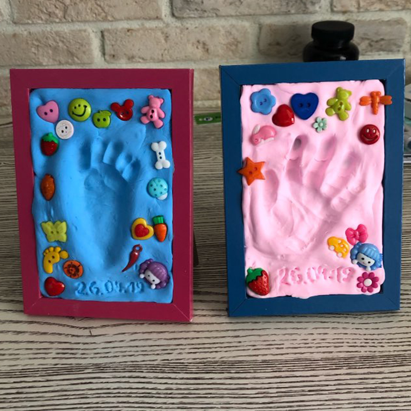 Baby hand foot Imprint Kit Baby Care Air Drying Soft Clay Baby footprint ultra light stereo Casting DIY Toys paw print pad