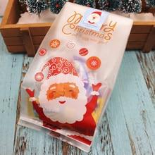 1pc/50個クリスマスバッグサンタクロース雪だるまセロハンクッキーファッジキャンディーギフトメリークリスマスビスケットクッキーキャンディーバッグ