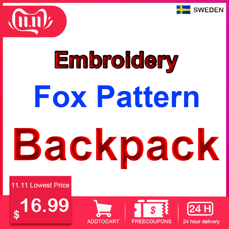 Classic Original Brand Fox Embroidery Backpack Young College Students Laptop Bags Travel Outdoor Hiking Waterproof Girl Mochilas image