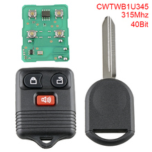 Remote Car Key Replacement 315Mhz 3 Buttons Keyless Entry Remote key Fob with 4D63 40 Bits Chip CWTWB1U345 Fit for Ford цена
