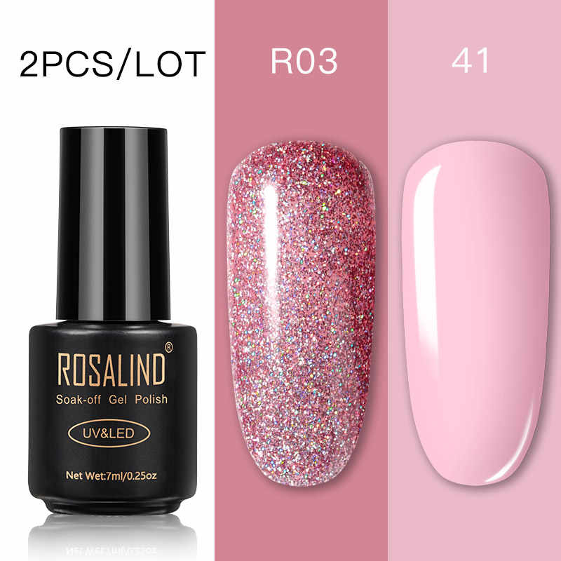 ROSALIND Set di smalti per unghie Gel per unghie smalto per unghie per Manicure Soak Off White primer Gel UV Semi permanente lacca ibrida