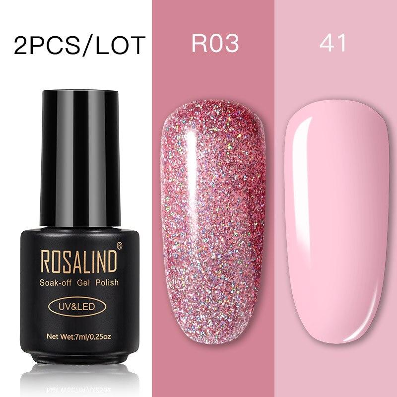 ROSALIND Nail Gel Polish Set Nails Art Gel Nail Polish For Manicure Soak Off White Primer Semi Permanent UV Gel Hybrid Lacquer