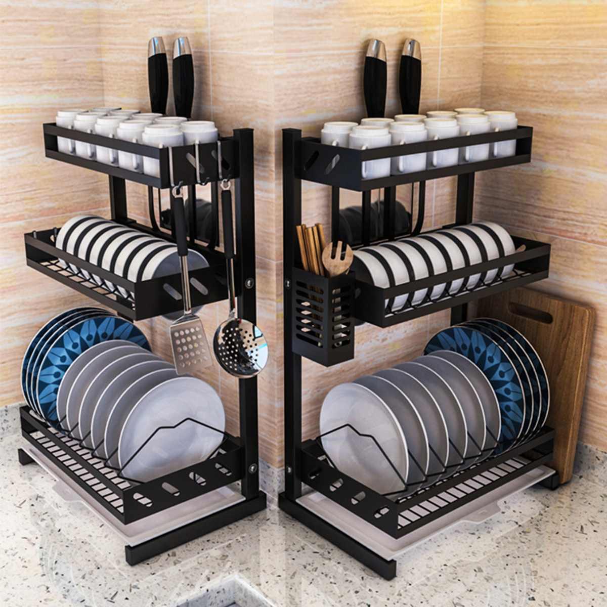 Aço inoxidável cozinha prateleira organizador prato rack de secagem sobre pia utensílios titular tigela prato drenagem prateleira armazenamento da cozinha|Racks e suportes| |  - title=