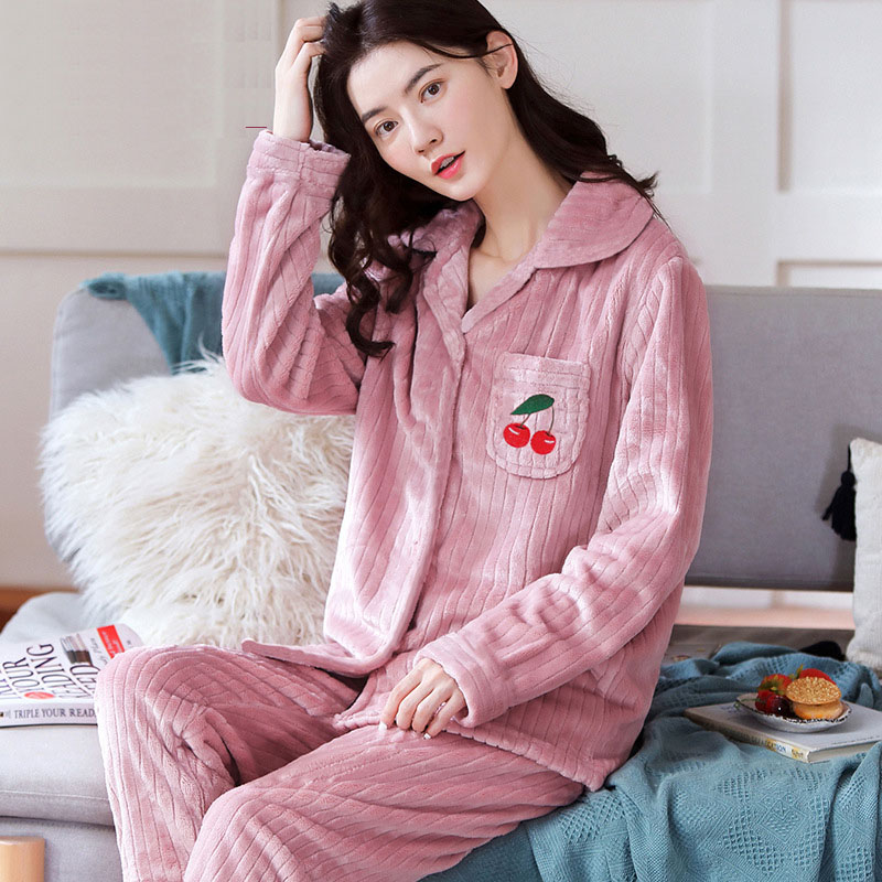 Winter Warm Pajamas Set Lady Cute Pyjamas Sleepwear Suit Female Home Clothing Homewear Women's Pajamas Sets