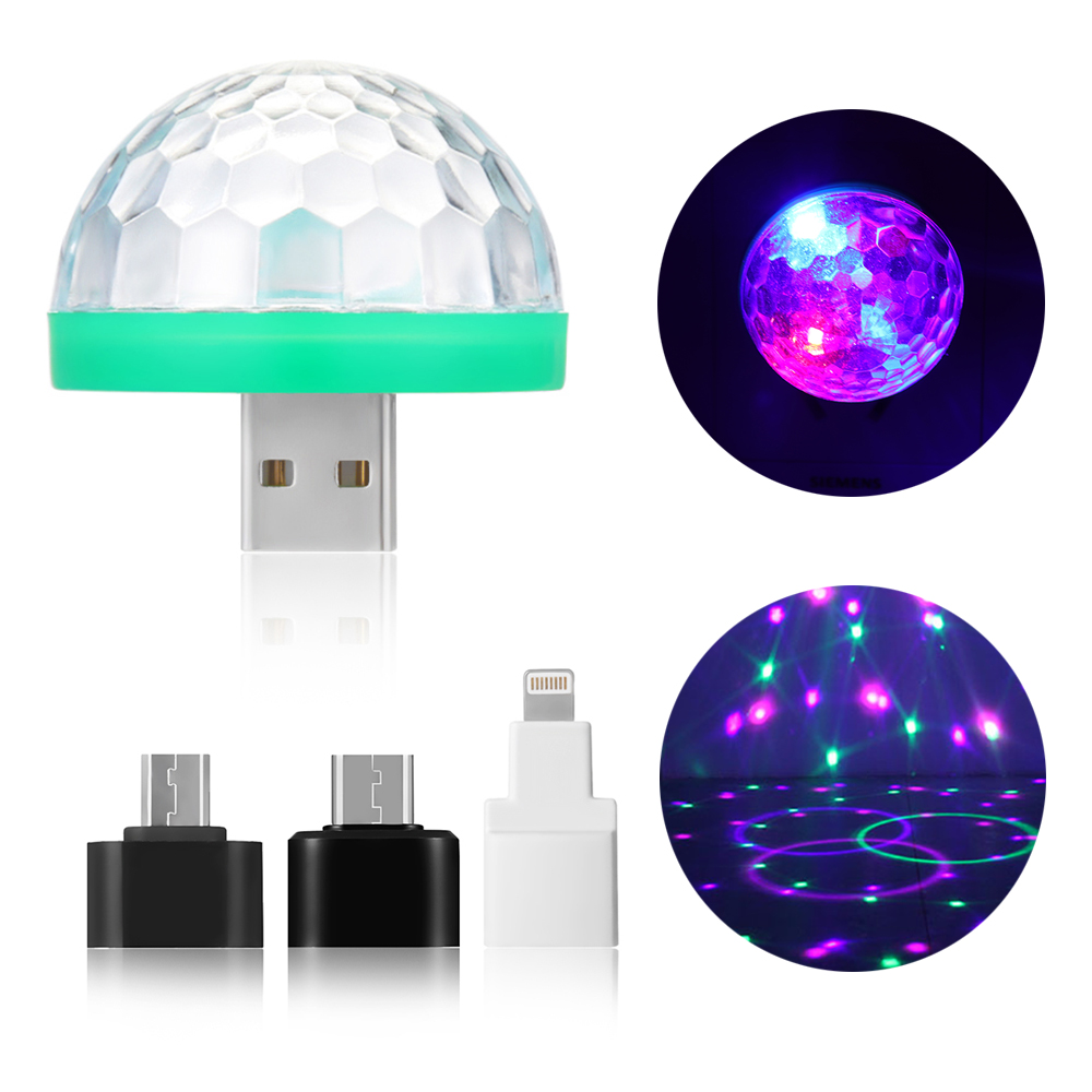 Moon Light LED USB Music Magic Ball Mobile Phone DJ Crystal Magic Ball Light Car Voice Control Mini Disco Stage Lighting Effects