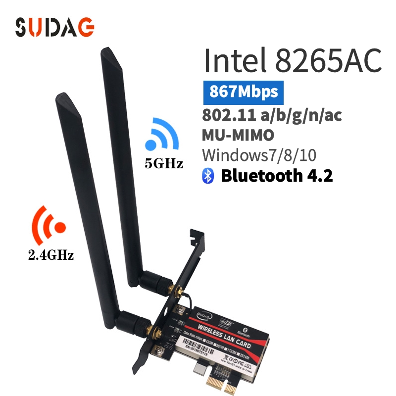 Dual Band 2.4G/5Ghz Wifi Bluetooth Wlan For Intel 8265NGW Wireless-AC 8265 NGFF 802.11ac 867Mbps 2x2 MU-MIMO WIFI BT 4.2 Card