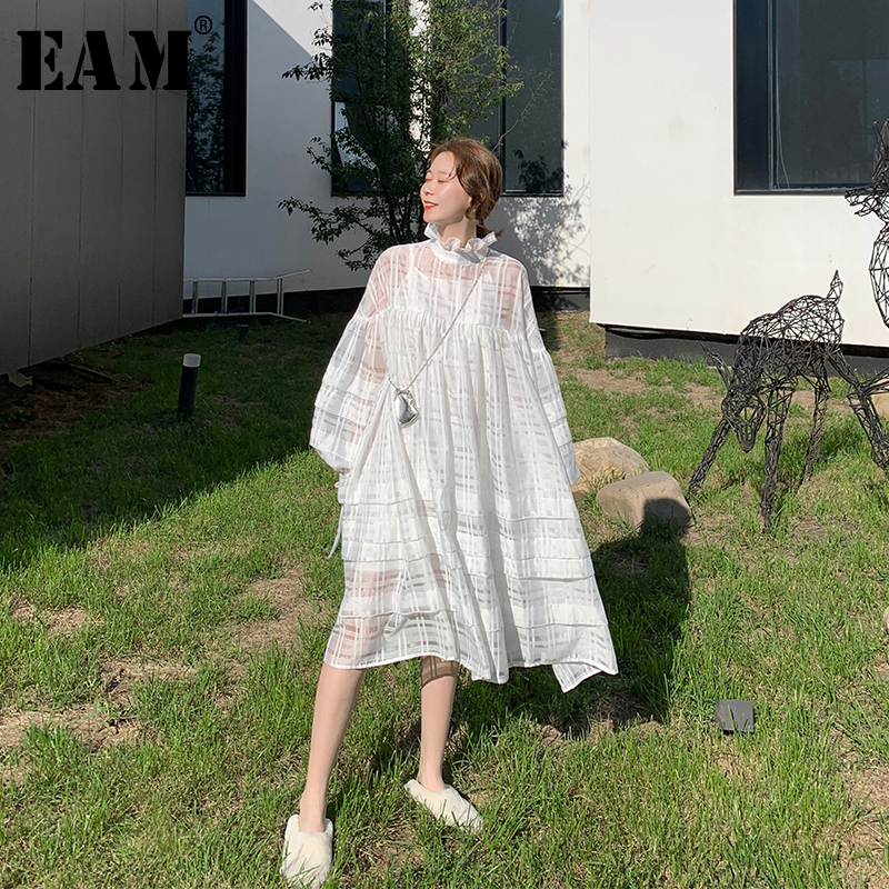 [EAM] Women White Perspective Big Size Dress New Stand Collar Long Sleeve Loose Fit Fashion Tide Spring Autumn 2020 1R380