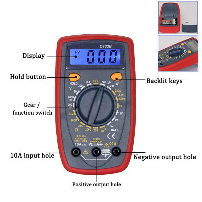 Digital Multimeter Voltage Current Diode Resistance Continuity Tester Meter 1Pc