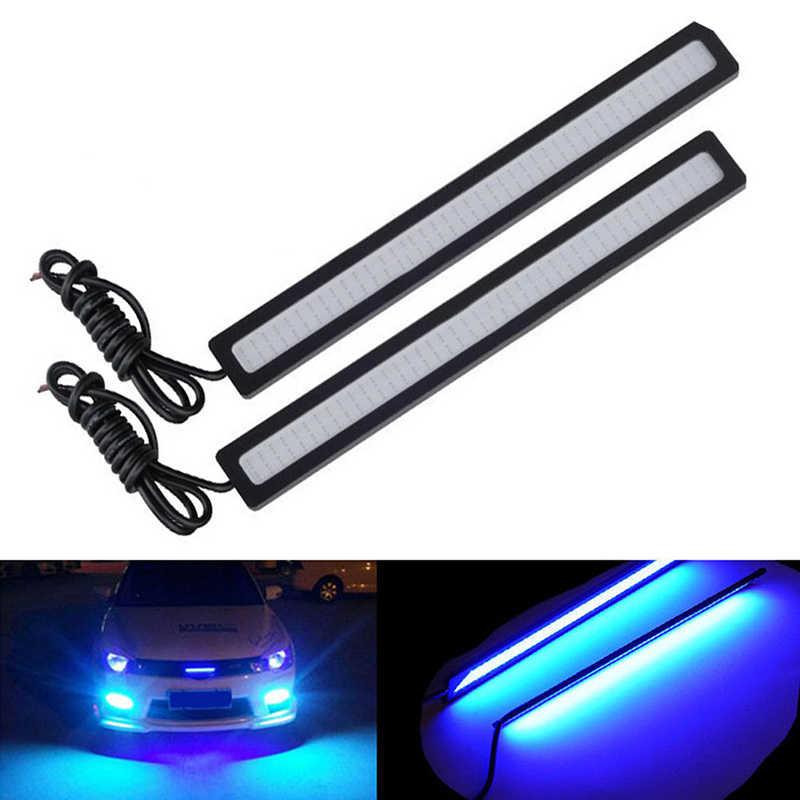 Gorąca sprzedaż 1PC wodoodporna DC 12V 17cm niebieski Super jasne LED samochód COB światła DRL światła przeciwmgielne do jazdy reflektor do jazdy dziennej
