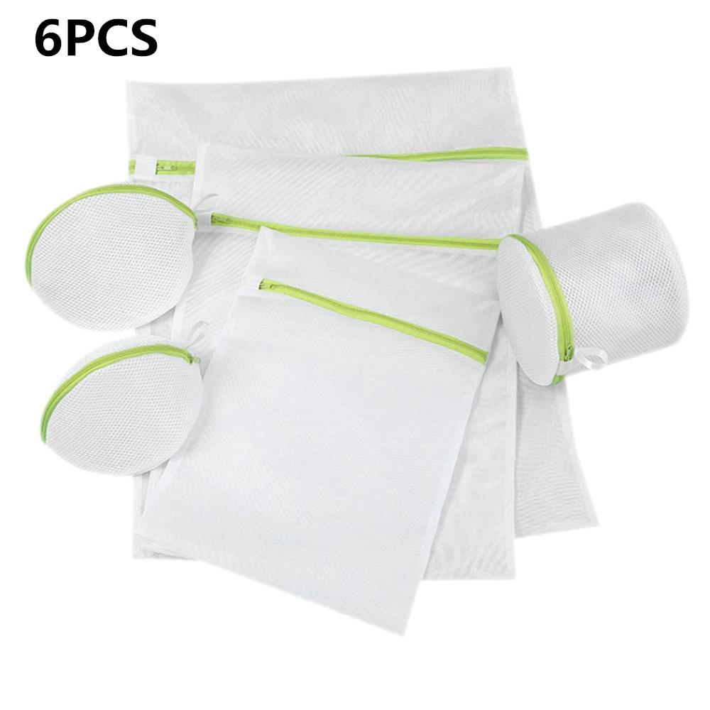 6PCS Clothing Machine Wahsing Bag Foldable Zipper Women Bra Underwear Care Pouch Net Mesh Basket For Household Laundry Storage