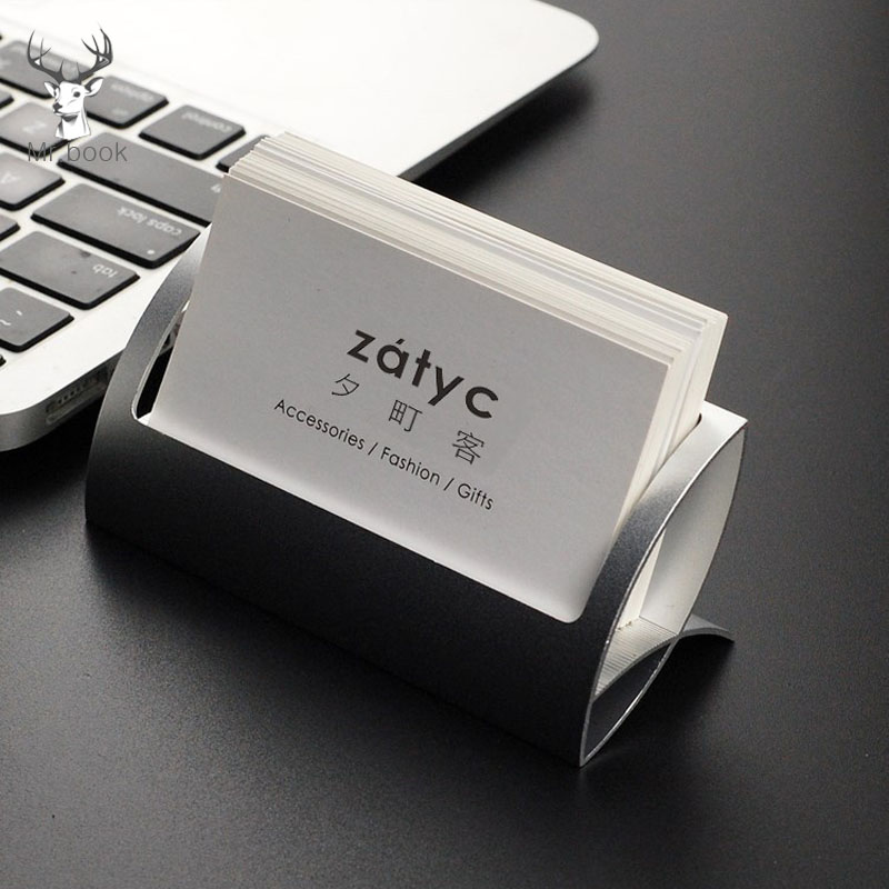 Metal Business Card Holder Desk Shelf Box Storage Display Stand Office Desk Business Card Organizer Desk Accessories Stand Clip